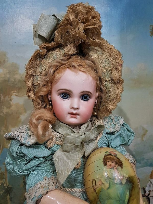 French Bisque Portrait Bebe by Jumeau size 8 in Wonderful Clothing