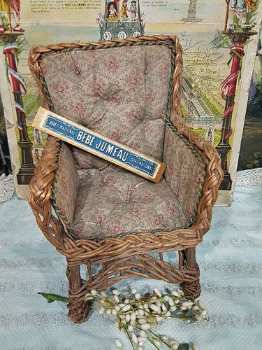 Pretty all Original Bamboo Chair with Original Fabric Cover / 1880