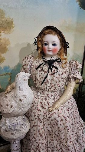 Rare Early French Porcelain Poupee by Blampoix all Original