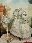 Fancy French Bebe Silk and Lace Costume with Marching Bonnet
