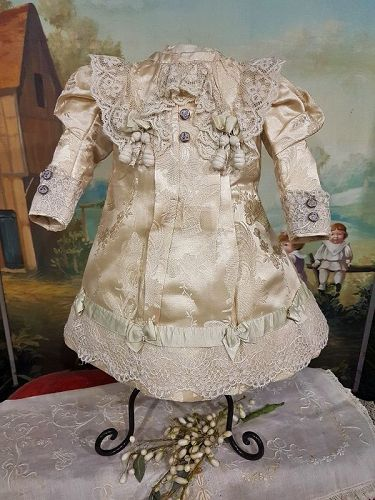 ~~~ Lovely Antique French Home Made Silk Bebe Dress ~~~