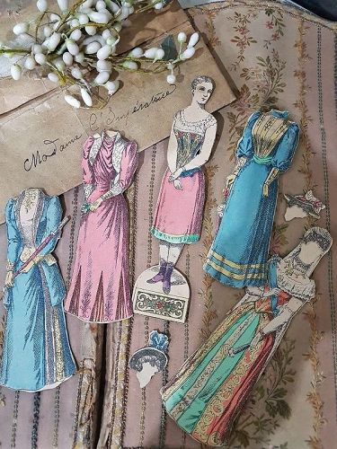 """Rare Dressing Paper Doll """"The Empress """" with Pretty Clothing /1870/80"""