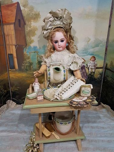 ~~~French Bebe Dressing Table with Rare Porcelain - Set~~~