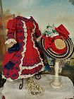 Outstanding French Jumeau red Bebe Costume with Straw Bonnet