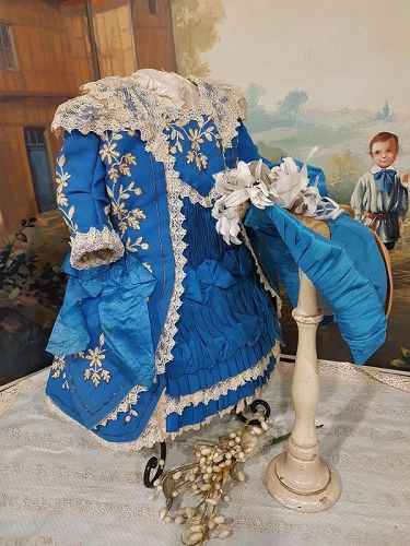 Marvelous French Silk & fine Cashmere Bebe Costume with Bonnet