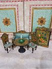 Charming 5 Piece Petite Dollhouse Lithographed Wooden Furniture