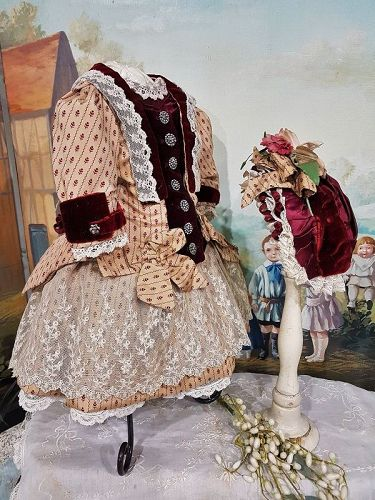 ~~~ Elegant French Bebe Silk and Velvet Costume with Bonnet ~~~