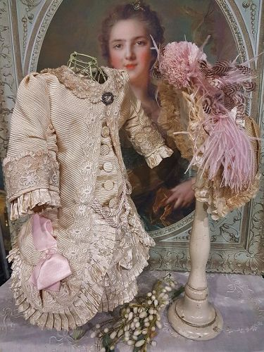 Superb French Cream & Rose Silk Costume with antique Straw Bonnet
