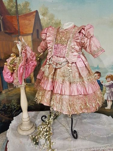 ~~~Pretty French Pink Silk Bebe Costume with Matching Bonnet ~~~