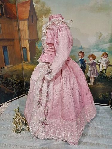 """French Antique Three Piece Lady´s Gown with Train for ca. 24"""" / 25"""""""
