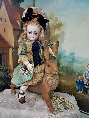 Rare French Bisque Bebe by Petit et Dumoutier in Beautiful Costume