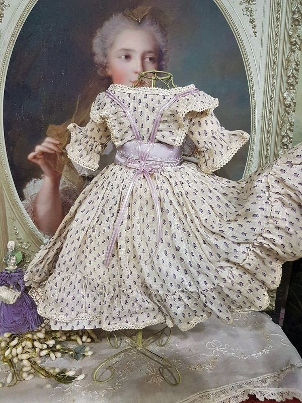 ~~~Lovely Purpel Patterned Sheer Cotton - Muslin Poupee Gown ~~~