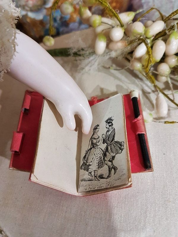 ~~~ Rare French Poupee Dance Card Book / circa 1860/68