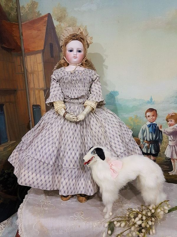 Lovely 19th. Century French Poupee Russian Borzoi Dog