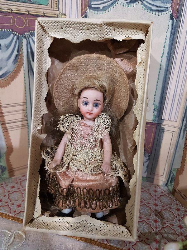 Antique French all Bisque Mignonette in Original Costume and Box