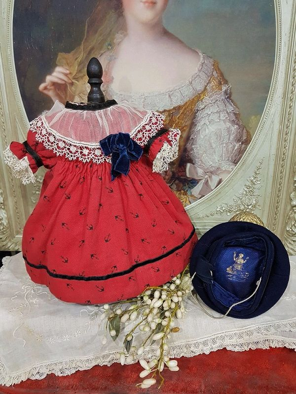 """French Dolls Factory Sailor Costume from 19th. Century / 14"""" Bebe"""