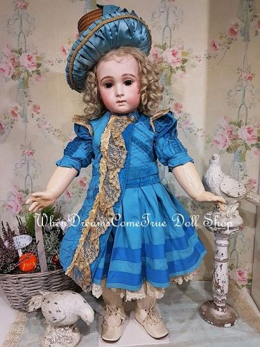Stunning French Blue Silk Costume with Antique Straw Bonnet