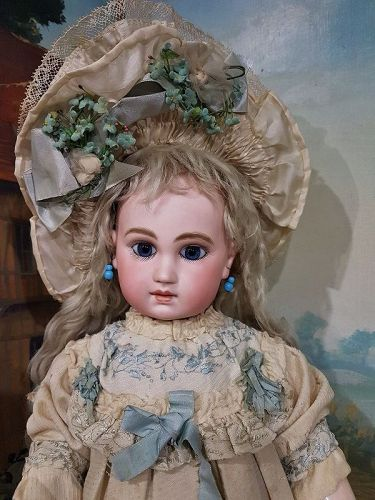 Early Rare early French Schmitt et Fils Bebe in original Clothing