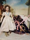 Fine French Paper-Mache Lady Doll with rare Blue Eyes & Extra Clothing