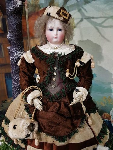 Stunning Huret era 1860th. Bisque Poupee with gorgeous Antique Gown