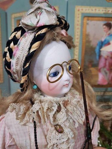 ~~~ Pretty Antique French Poupee Lorgnette in Box ~~~