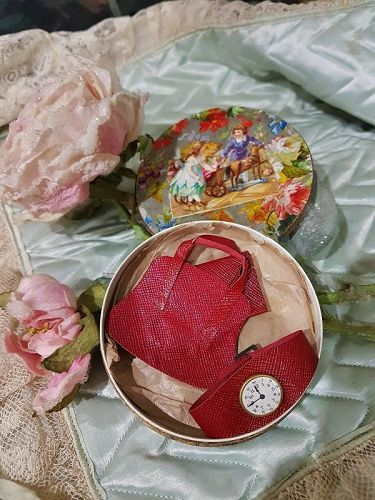 ~~~ Rare Three Piece French Doll Accessory Set in Store Box  ~~~