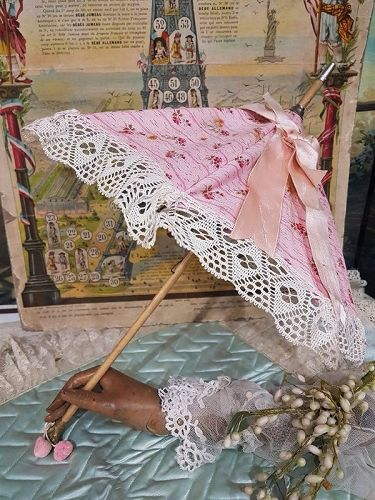~~~ Beautiful Maison Jumeau Bebe Parasol with Dog Handle ~~~