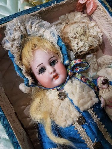 ~~~ Darling tiny S&H Bebe with Trousseau for French Market ~~~