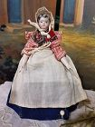 Rare Early Grodnertal Wooden Doll with superb Original Costume