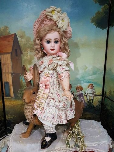 French Bisque BeBe Jumeau Size 9 in Pretty Costume