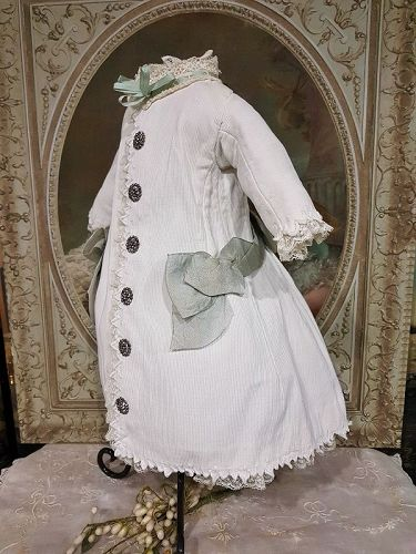 Pretty Antique French 19th. Century Pique Coat Bebe Dress