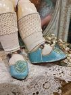 ~~~ Rare Antique French Bebe Shoes by Jullien with Stocking ~~~