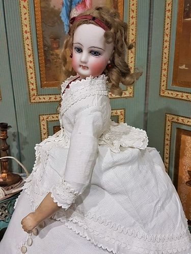 Pretty French All Wooden Body Bisque Poupee with lovely Pique Costume