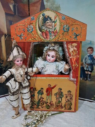~~~ Lovely Antique Doll Size small French Puppet Theater ~~~
