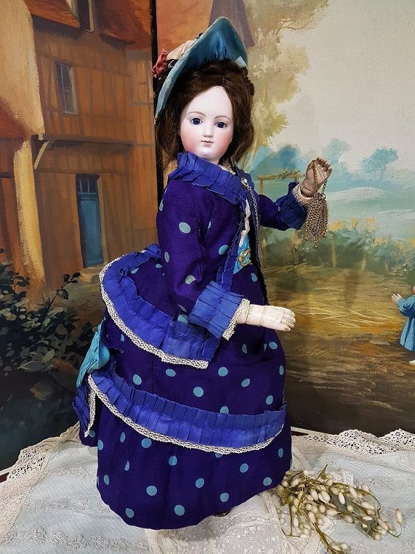 """Rare French Bisque Wooden Body Poupee with """"Lily"""" Face"""