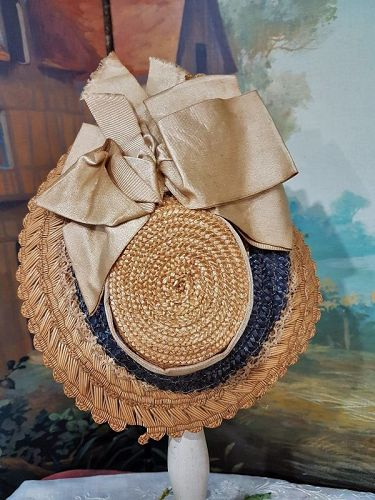 ~~~ Pretty Antique Classic Jumeau Straw Bonnet / France 1880