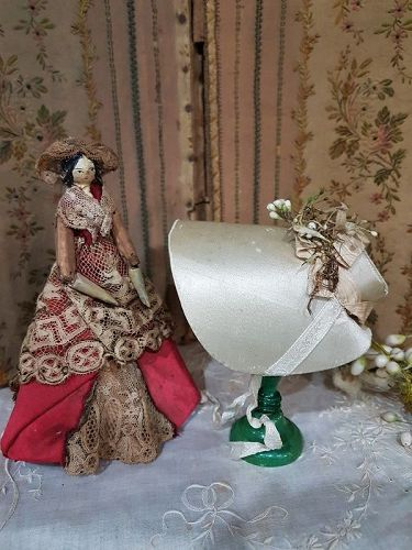 Rare early Cabriolet Silk Bonnet from Grodnertal Doll