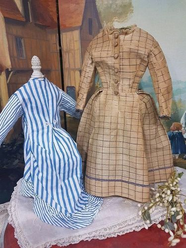 Nice Set of Two Antique French  Fashion Gowns from 19th. century