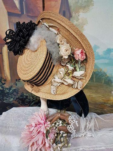 ~~~ Most beautiful Fancy Antique Doll Bonnet ~~~