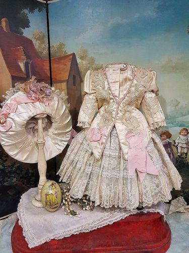 Elegant French Two piece Bebe Silk Costume with Antique Straw Bonnet