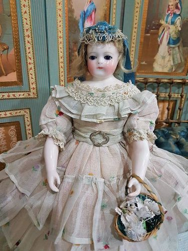 Rare Huret era Early French Porcelain Poupee by Blampoix / 1858