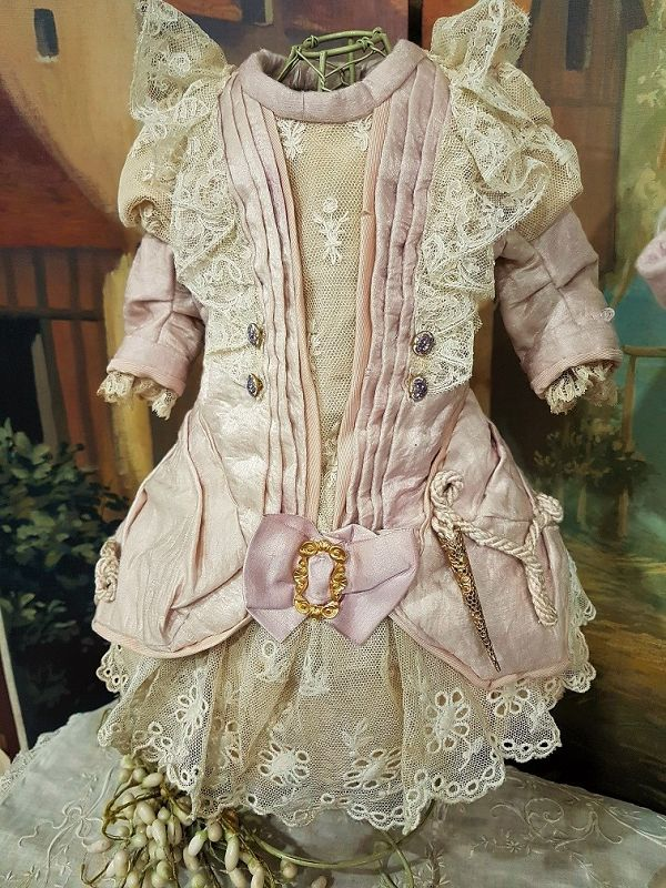 ~~~ Beautiful French Silk Spring Costume with Three Corner Bonnet ~~~
