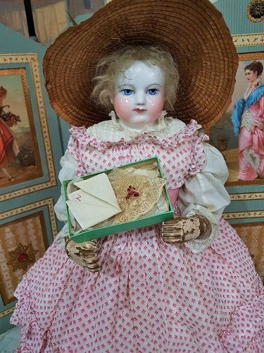 Rare Tiny French Poupee Handkerchief for Huret , Rohmer / 1860 in Box