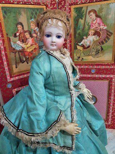 Outstanding all Original French Bisque Poupee in her Gorgeous Clothing