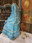 ~~~ Pretty Home Made French Poupee Silk Bustle Gown ~~~