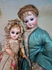 """Rare 9"""" Tiny Size 0 Mademoiselle Jumeau in Pretty Antique Clothing"""