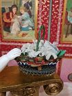 Rare French Poupee Pearl Basket with Flowers / France 1875
