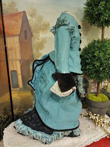 ~~~ Pretty Antique French Poupee Woolen & Silk Bustle Gown ~~~