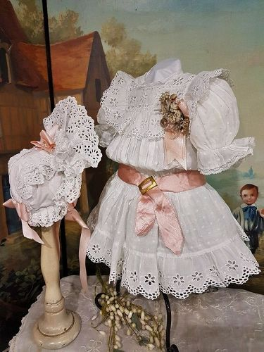 Pretty Antique white French Bebe Muslin Costume with Bonnet