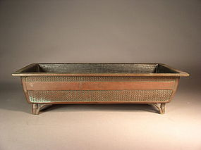 Japanese bronze bonsai / bonkei vessel